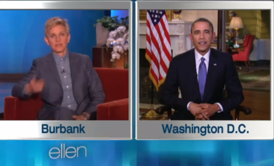 Ellen Feature's President Barack Obama on breaking his ReTweet Record