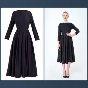 Midi-length black dress